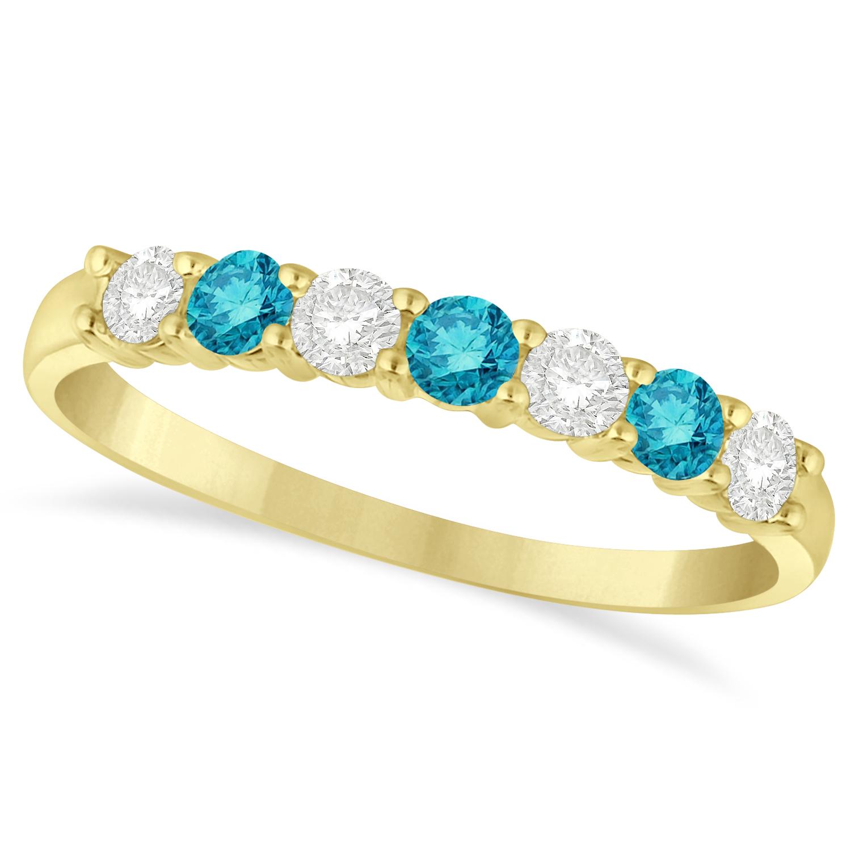 Blue Amp White Diamond 7 Stone Wedding Band 14k Yellow Gold 050ct