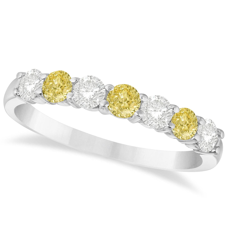 White Amp Yellow Diamond 7 Stone Wedding Band 14k White Gold 075ct