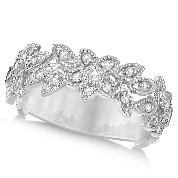 Vintage Style Diamond Flower Ring Pave Set Band 14k White Gold 0.28ct
