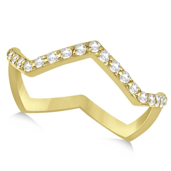 Pave Set Diamond Ring with Unique Abstract Design 14k Yellow Gold 0.27