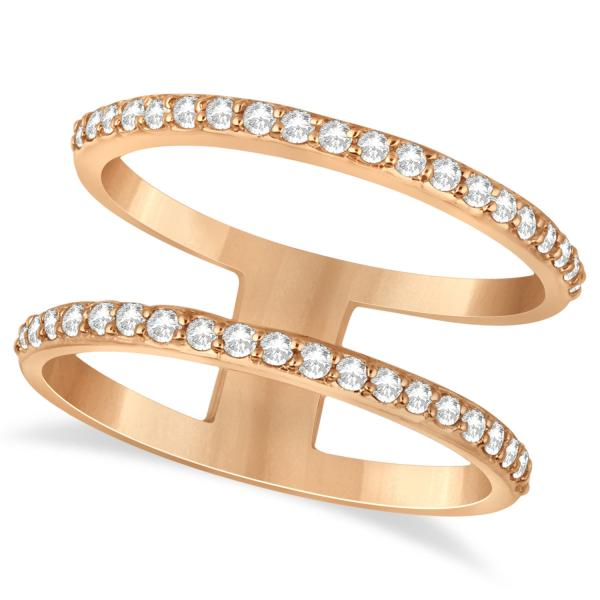 Double Open Circle Abstract Diamond Ring Band 14k Rose Gold 0.40ct