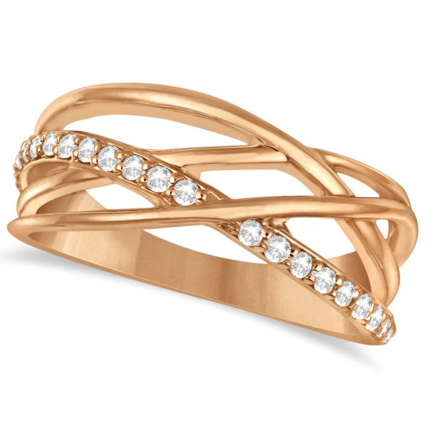 Intertwined Diamond Ring Abstract Design 14k Rose Gold 0.27ct