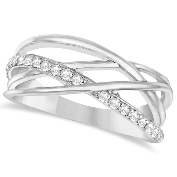 Intertwined Diamond Ring Abstract Design 14k W. Gold 0.27ct