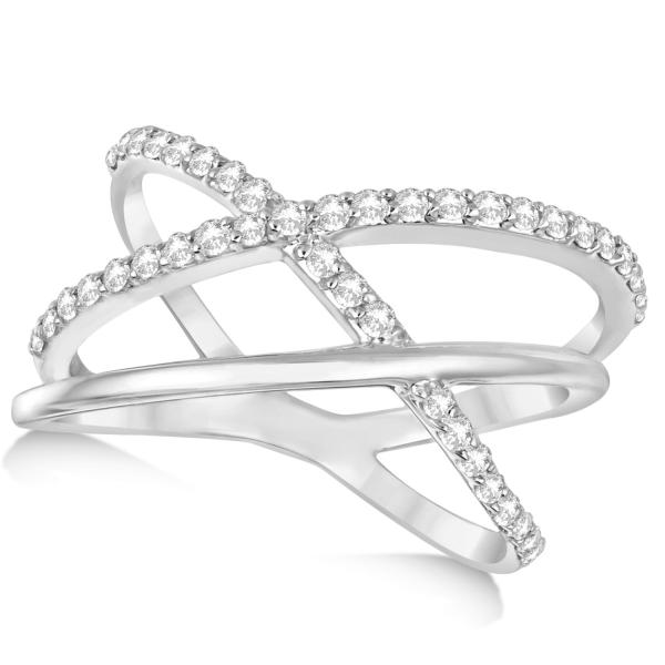 Band Intertwined Double X Diamond Ring 14k White Gold 0 42ct