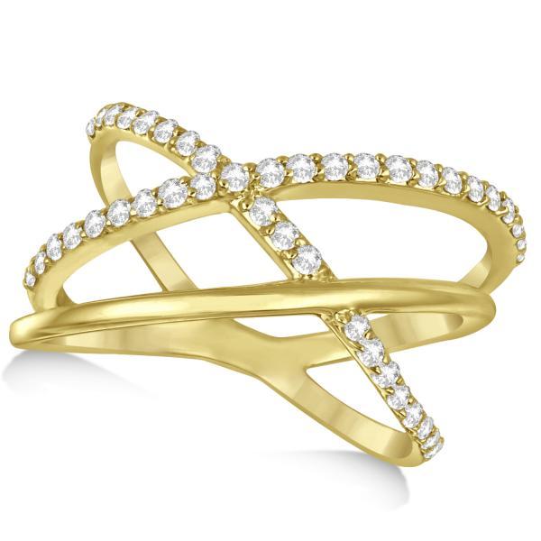 Three Band Intertwined Double X Diamond Ring 14k Yellow Gold 0.42ct