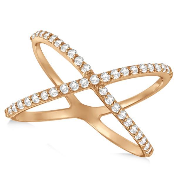 X Shaped Diamond Ring 14k Rose Gold 0.50ct