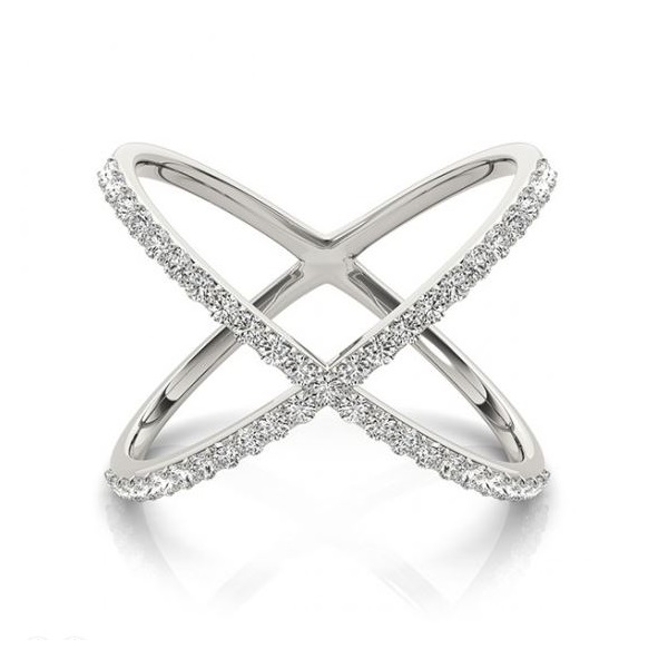 X Shaped Diamond Ring 14k White Gold 0 50ct Allurez