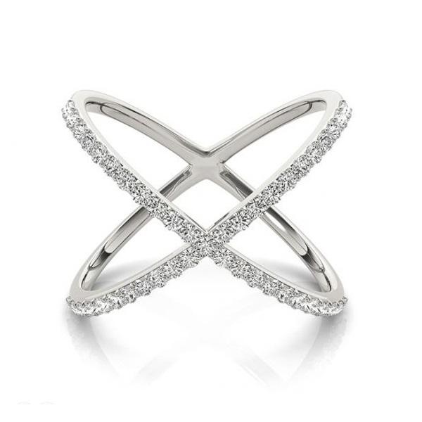 X Shaped Diamond Ring 14k White Gold 050ct Allurez