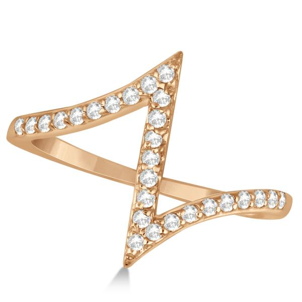 Unique Z Shaped Diamond RIng Abstract Design 14k Rose Gold 0.27ct