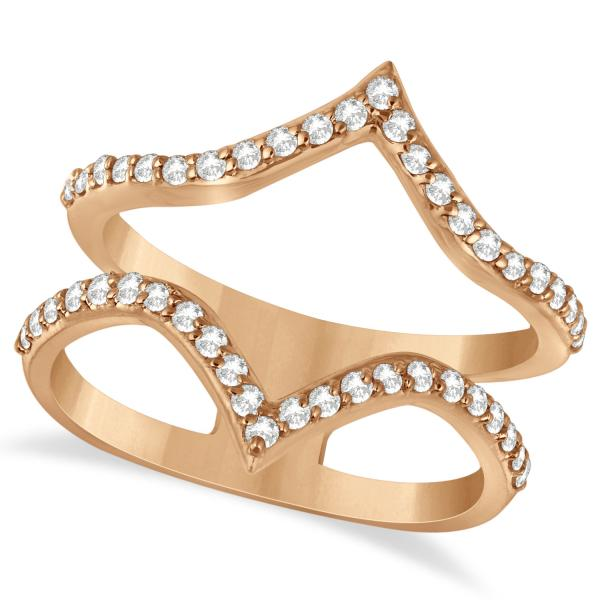 Double V Abstract Diamond Ring Pave Set 14k Rose Gold 0.41ct