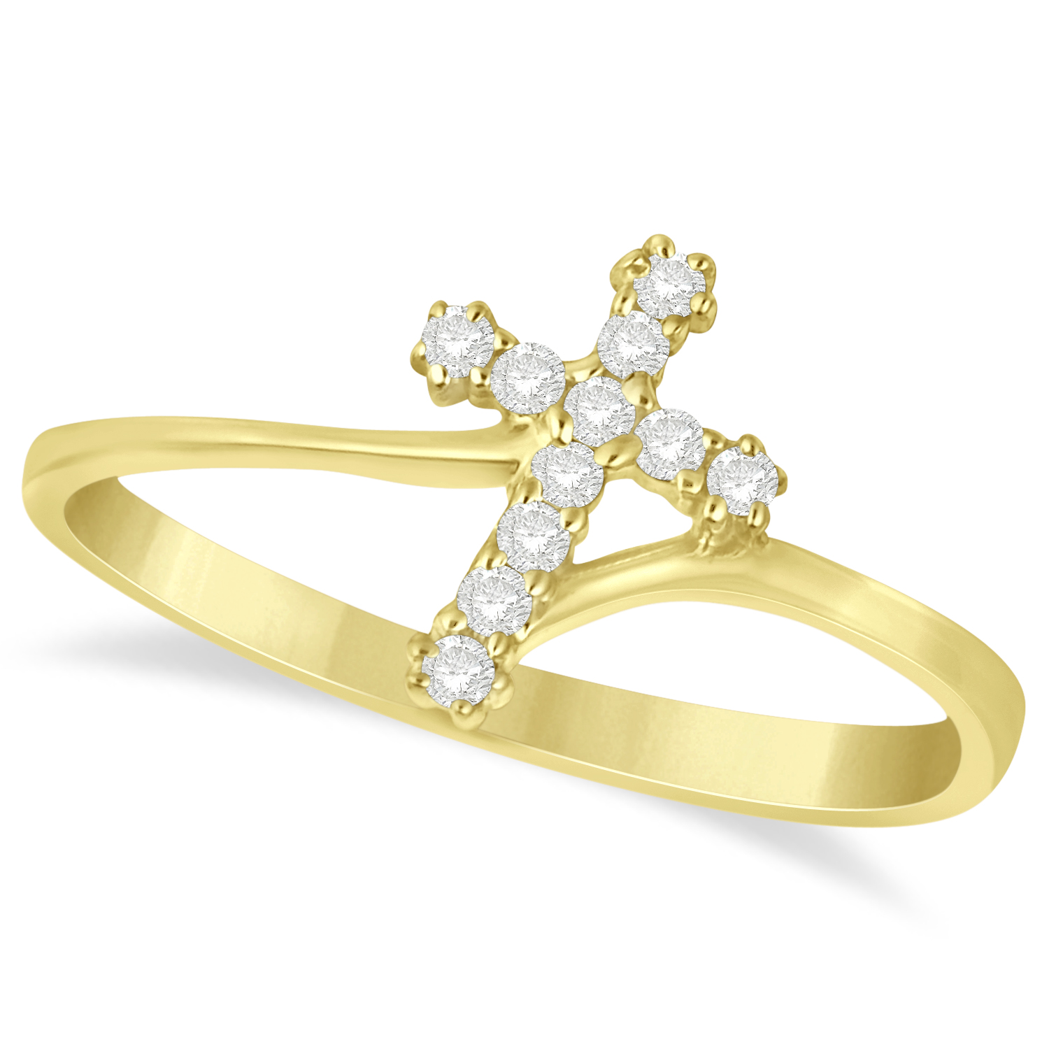 Diamond Religious Cross Twisted Ring 14k Yellow Gold (0.10ct)