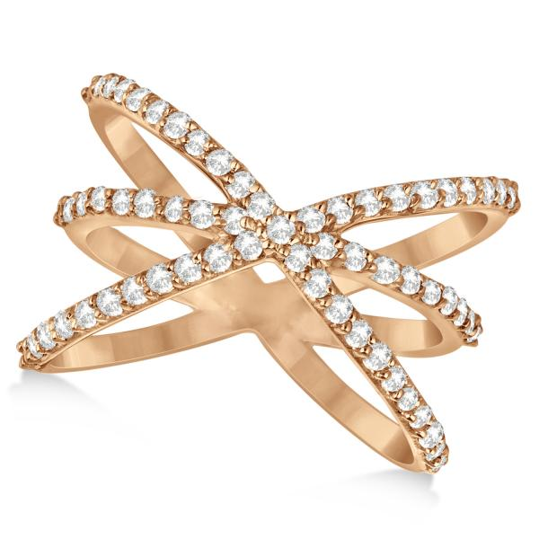 Diamond X Shaped Ring with 3 Orbital Bands 14k Yellow Gold 0.65ct.