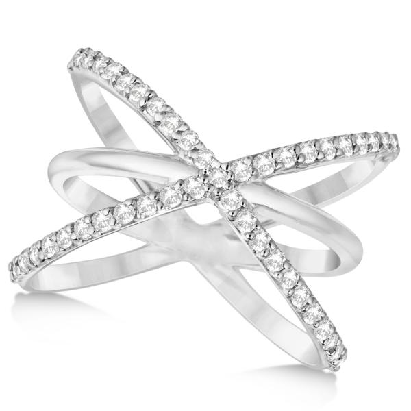"Diamond ""X"" Ring with Criss Cross Bands 14k White Gold 0.50ct."