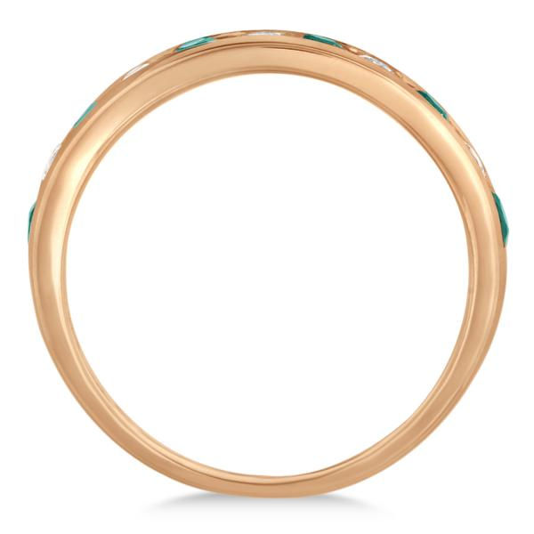 Channel Set Emerald & Diamond Ring Band in 14k Rose Gold 0.79ctw