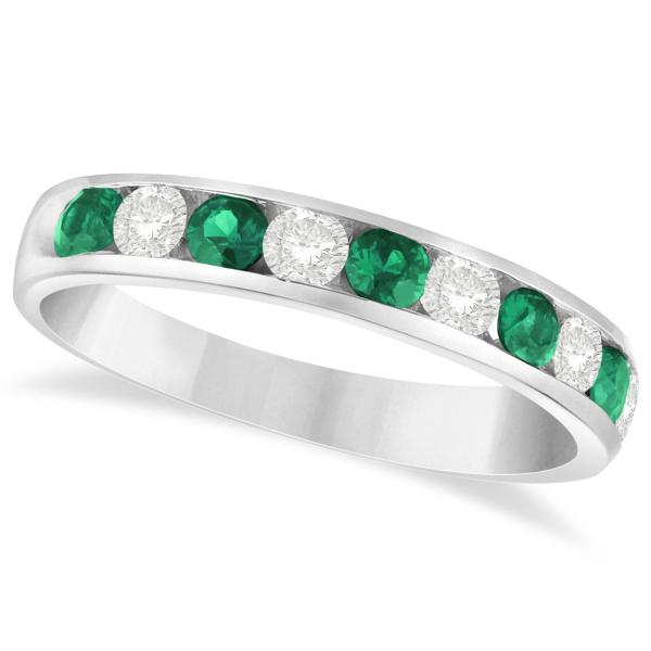 channel set emerald ring band 14k white gold 0 79ct
