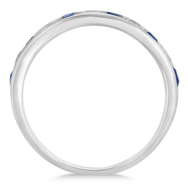 Channel Set Blue Sapphire & Diamond Ring 14k White Gold 0.79ctw