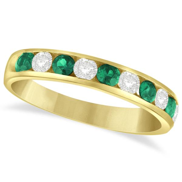 Channel Set Emerald & Diamond Ring Band in 14k Yellow Gold 0.79ctw