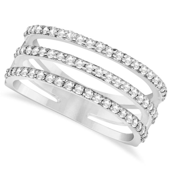 Three Band Diamond Ring Pave Set 14k White Gold 0.60ct