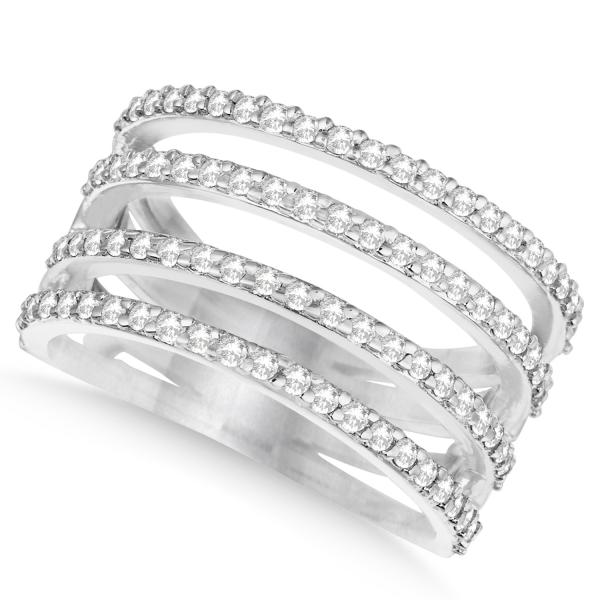 Four Band Diamond Fashion Ring Pave Set in 14k White Gold 0.80ct