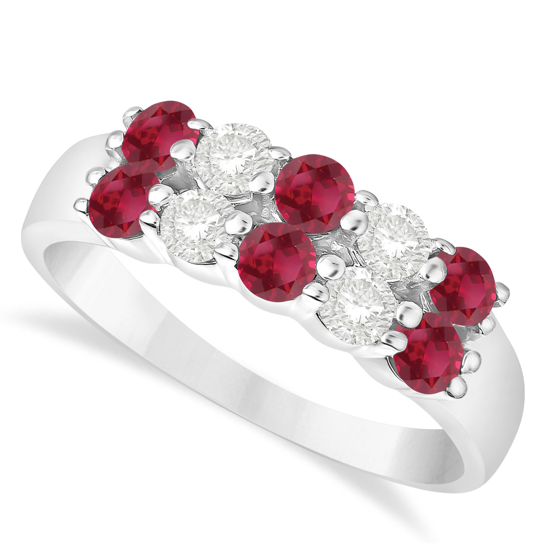 Double Row Ruby & Diamond Ring 14k White Gold (1.24ct)