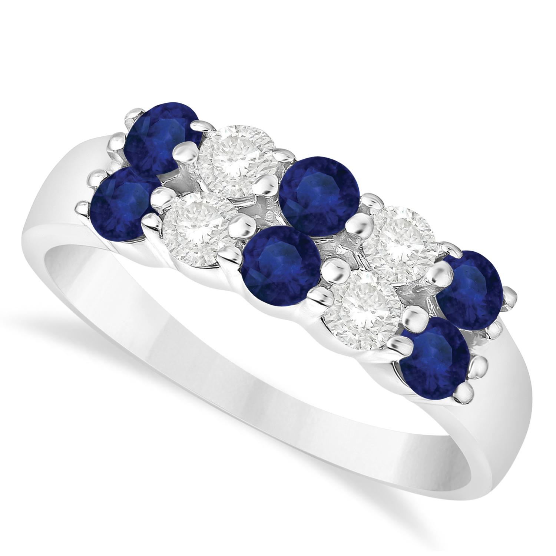 Double Row Sapphire & Diamond Ring 14k White Gold (1.12ct)