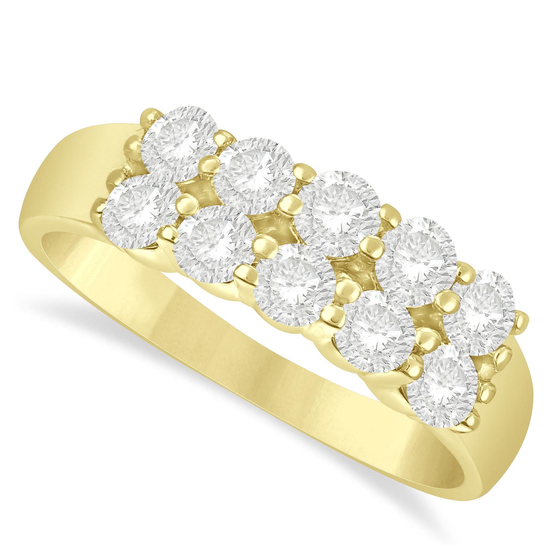 Double Row Diamond Ring 14k Yellow Gold (1.00ct)