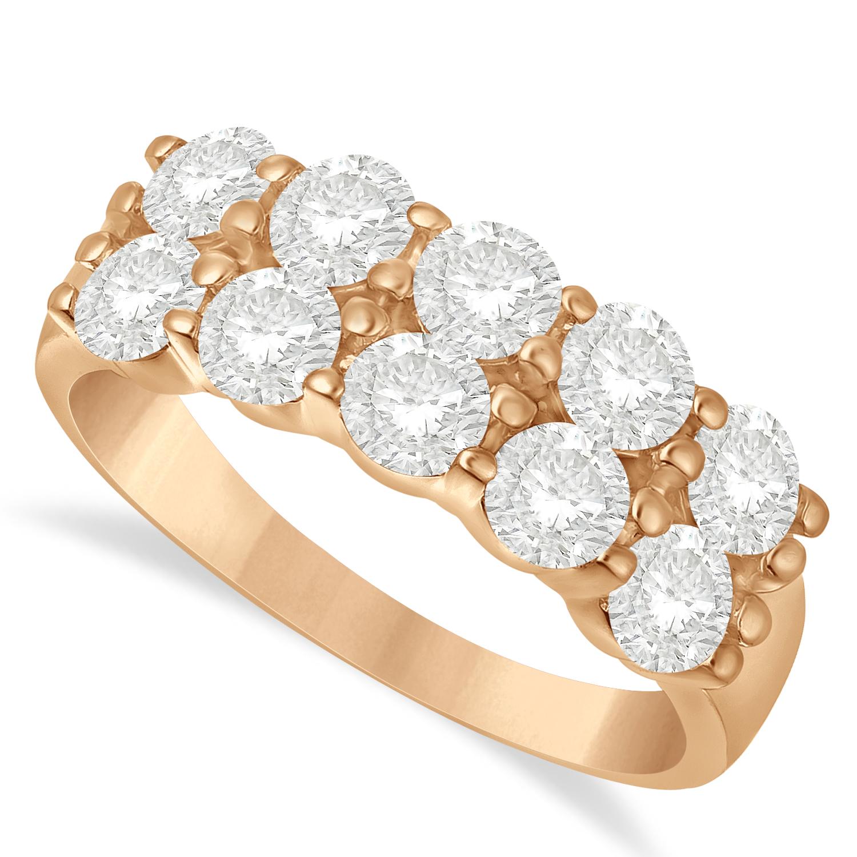 Double Row Diamond Ring 14k Rose Gold (2.00ct)