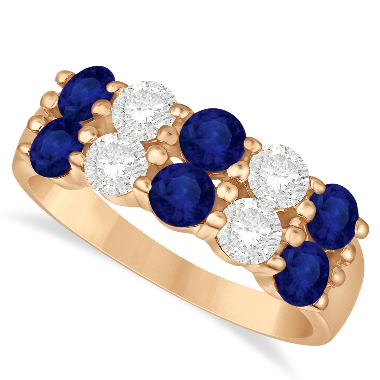 Double Row Sapphire & Diamond Ring 14k Rose Gold (2.20ct)