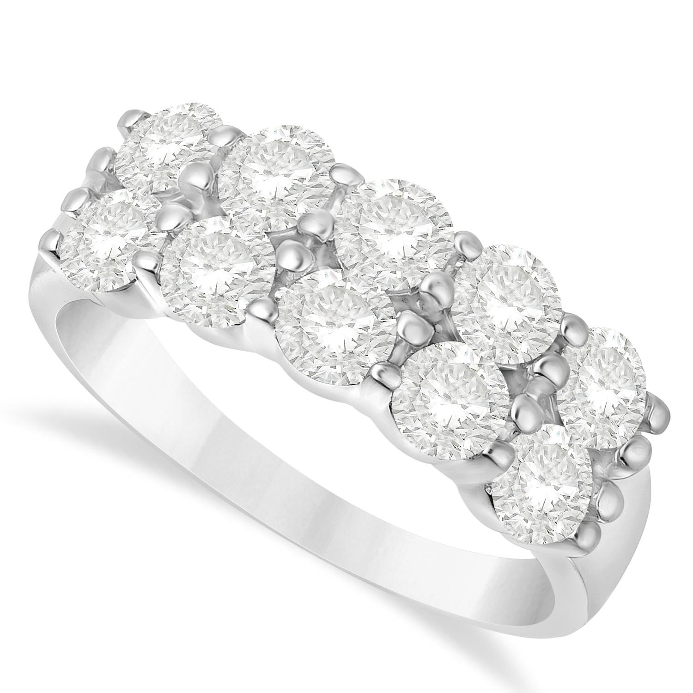 Double Row Diamond Ring 14k White Gold (2.00ct)