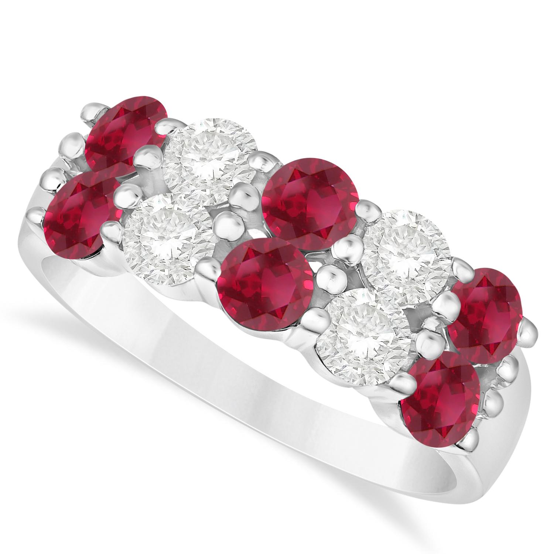 Double Row Ruby & Diamond Ring 14k White Gold (2.08ct)