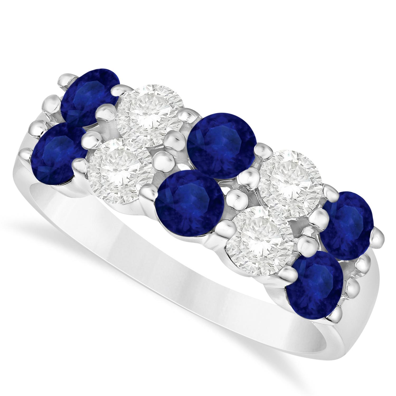 Double Row Sapphire & Diamond Ring 14k White Gold (2.20ct)