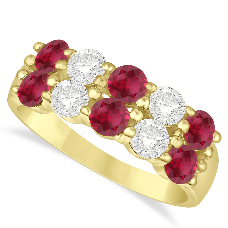 Double Row Ruby & Diamond Ring 14k Yellow Gold (2.08ct)