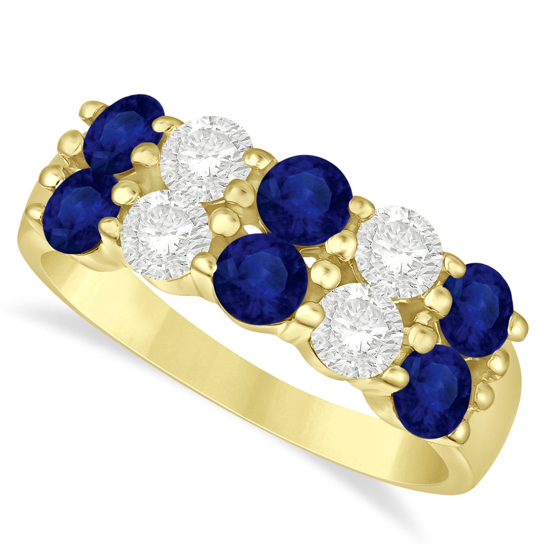 Double Row Sapphire & Diamond Ring 14k Yellow Gold (2.20ct)
