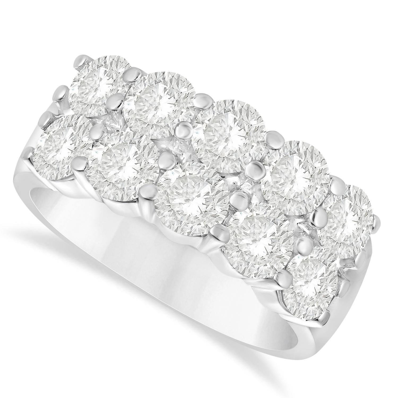 Double Row Diamond Ring 14k White Gold (3.00ct)