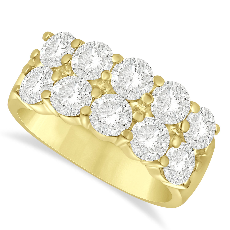 Double Row Diamond Ring 14k Yellow Gold (3.00ct)