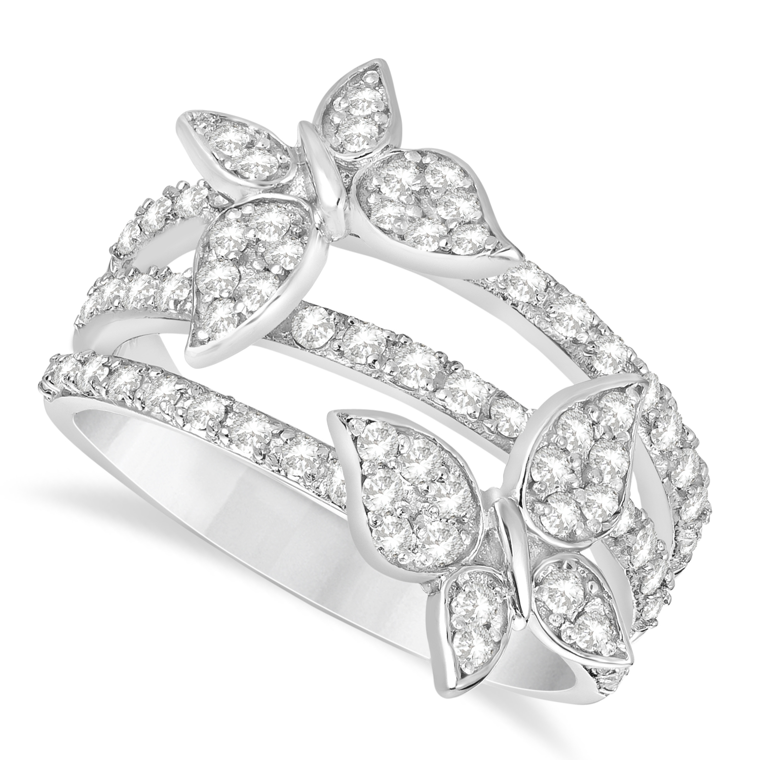 Diamond Butterfly Ring 14k White Gold (0.75ct)