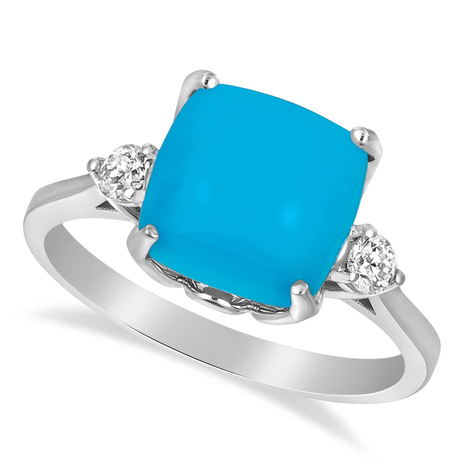 Turquoise Ring with Two Diamonds 14k White Gold (3.17ct)