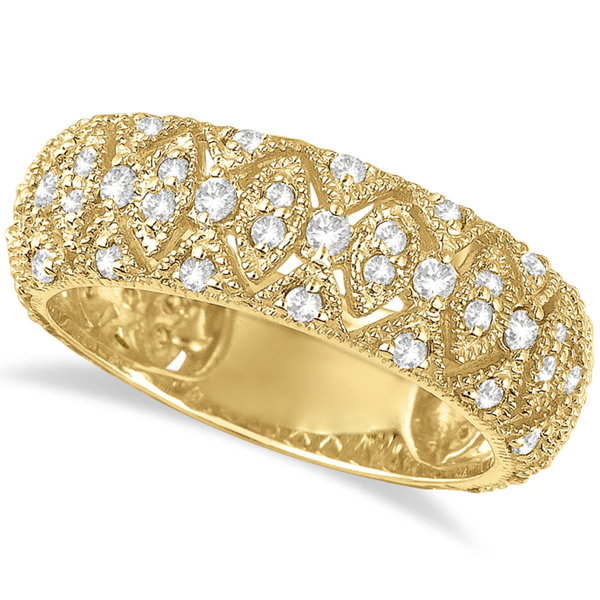 Luxury Wide Band Pave Set Diamond Ring 14k Yellow Gold (0.80ct)