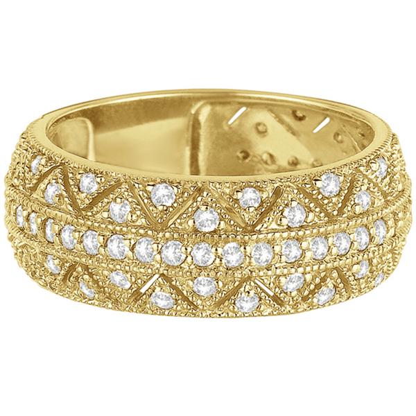 Luxury Wide Band Zig-Zag Pave Set Diamond Ring 14k Yellow Gold (0.75ct)