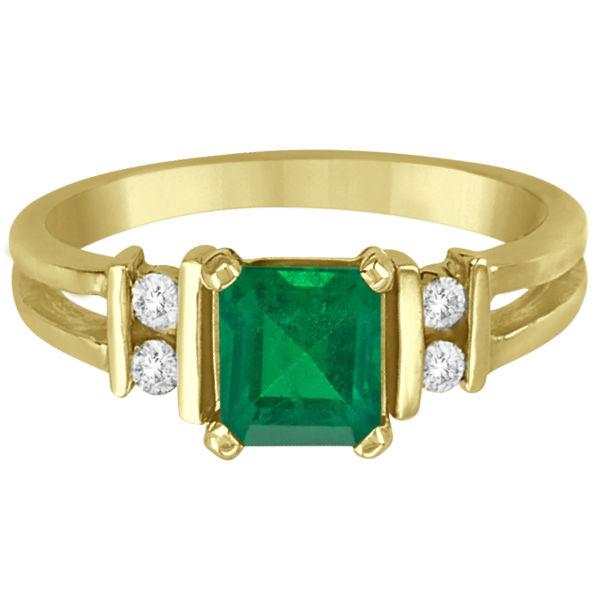Emerald Cut Diamond and Emerald Ring 14k White Gold (1.00ct)