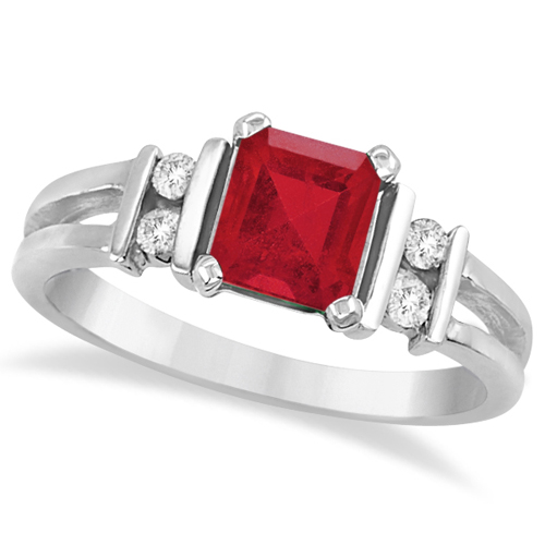 Emerald Cut Ruby and Diamond Ring 14k White Gold (1.10ct)