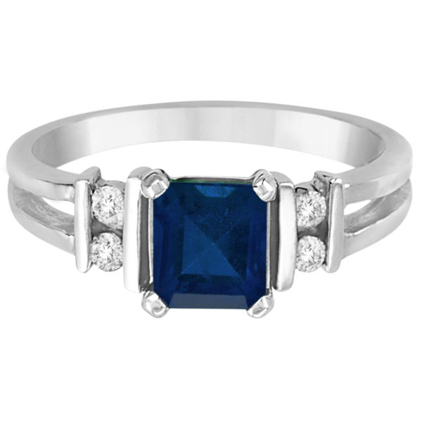 Emerald Cut Blue Sapphire and Diamond Ring 14k White Gold (0.85ct)
