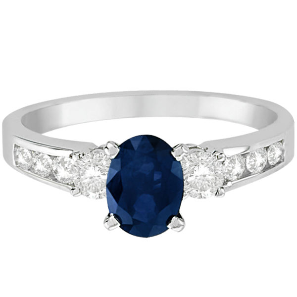 Diamond and Blue Sapphire Engagement Ring 14k White Gold (1.40ct)
