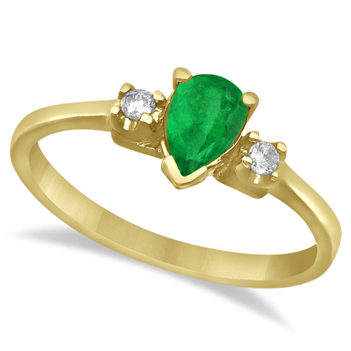 Pear Emerald and Diamond Three Stone Ring 14k Yellow Gold (0.45ct)