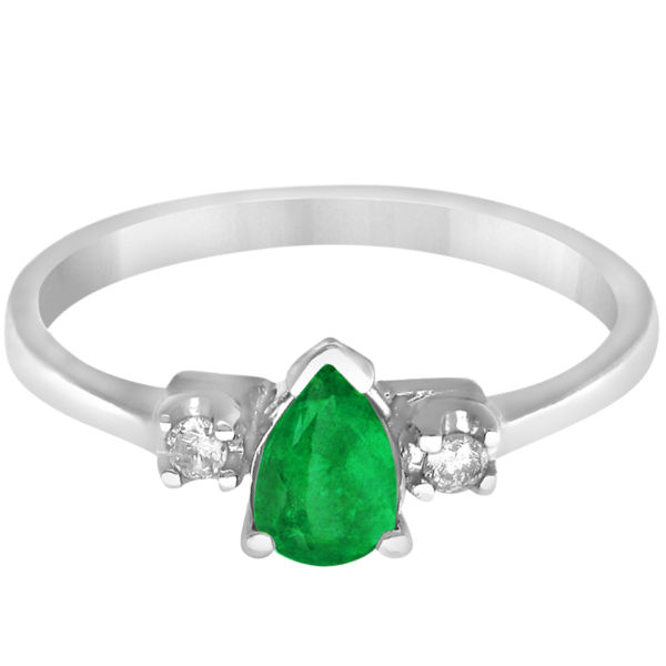 Pear Emerald and Diamond Three Stone Ring 14k White Gold (0.45ct)