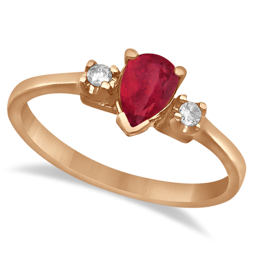 Pear Ruby and Diamond Three Stone Ring 14k Rose Gold (0.49ct)
