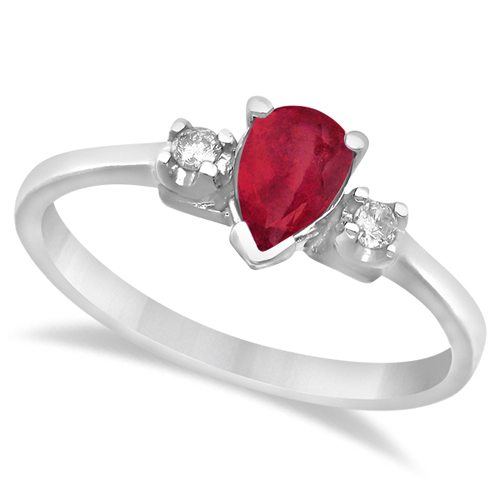 Pear Ruby and Diamond Three Stone Ring 14k White Gold (0.49ct)