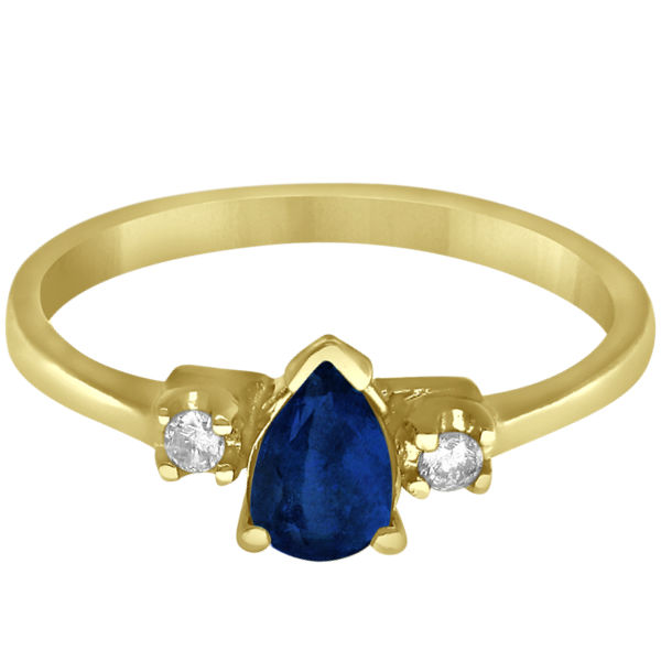 Pear Blue Sapphire and Diamond Three Stone Ring 14k Yellow Gold (0.51ct)