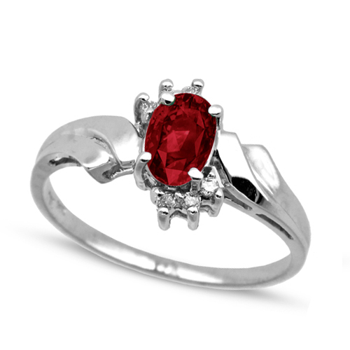 Solitaire Ruby Ring with Diamond Accents 14k White Gold (0.60ct)