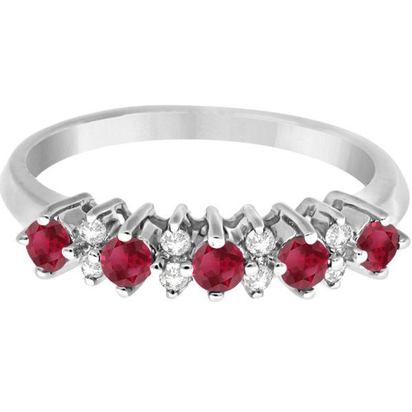 5 Stone Ruby and Diamond Anniversary Ring 14k White Gold (0.52ct)
